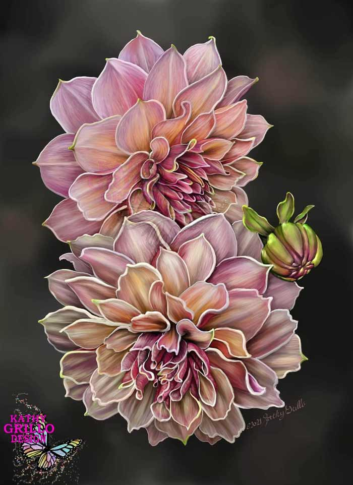 Flower digital painting by Kathy Grillo