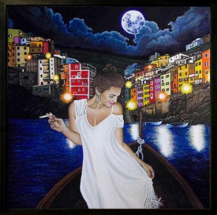 Woman figure painting by Krystof Novotny