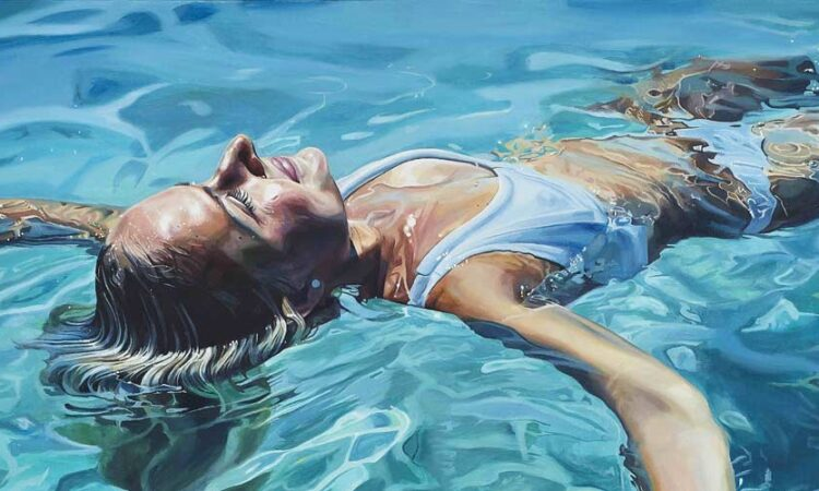 women submerged in water painting
