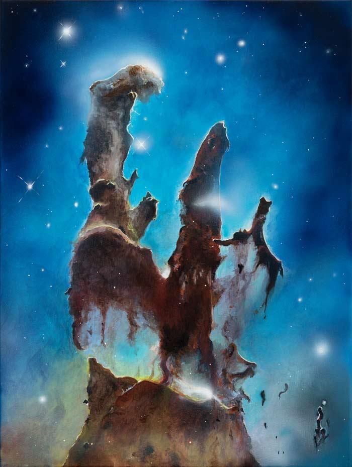 Pillars of Creation space art by Pilar Gogar