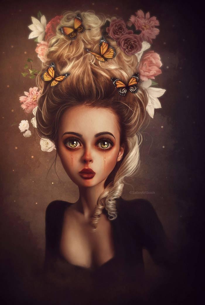 Spring Surrealist portrait by Sabine Maniere
