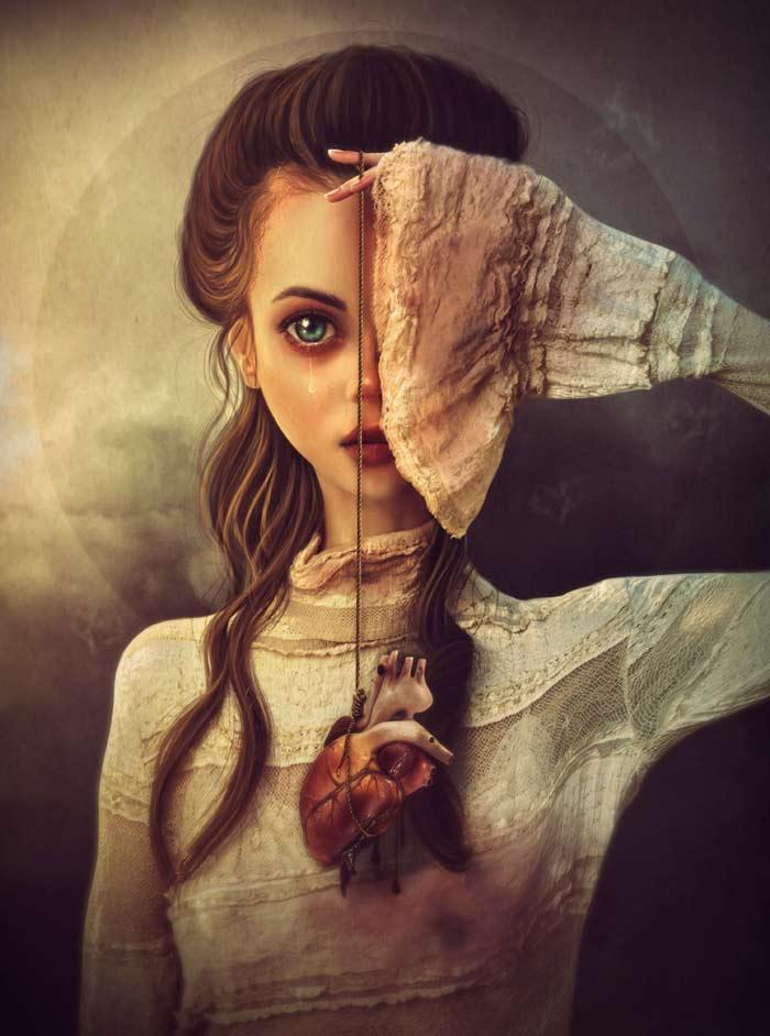 Dark surrealist art by Sabine Maniere