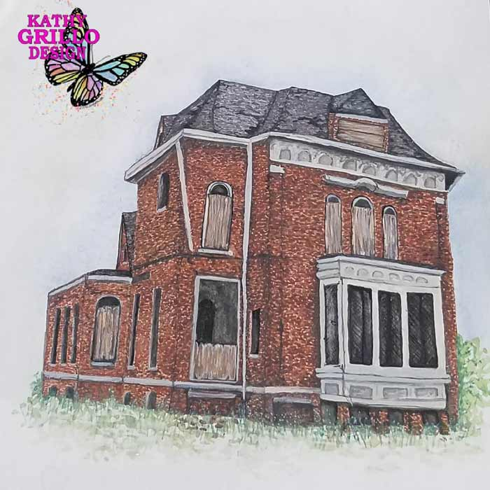 Old house painting art by Kathy Grillo