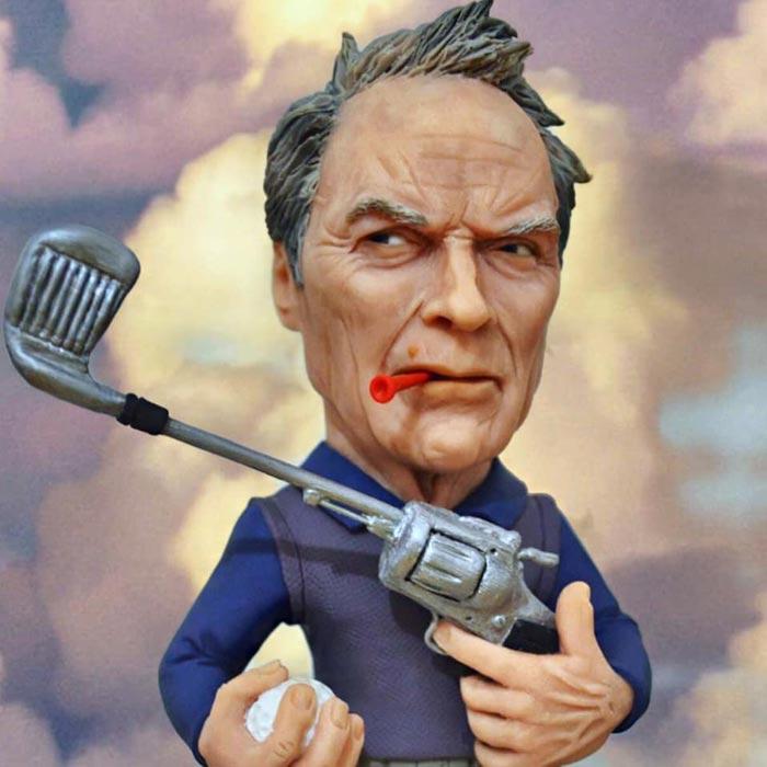 Sculpture caricature figurines Clint Eastwood