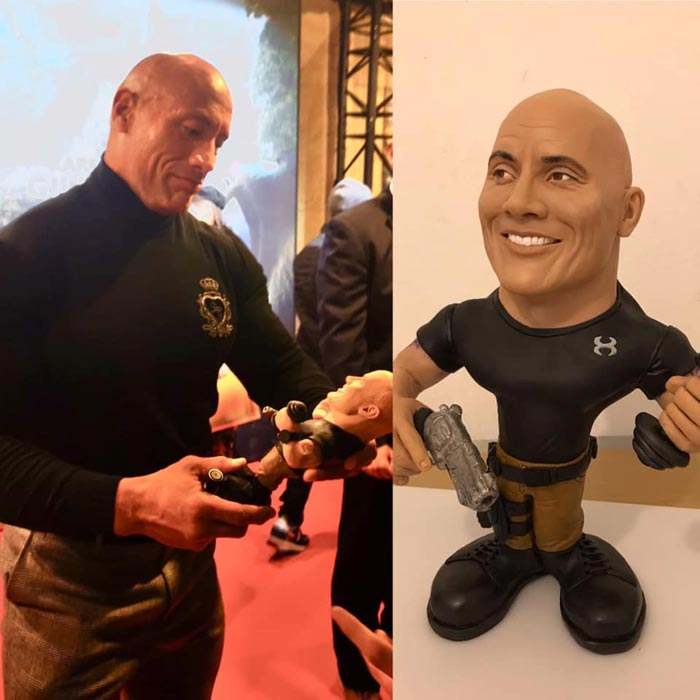 Sculpture caricature figurines Dwayne Johnson