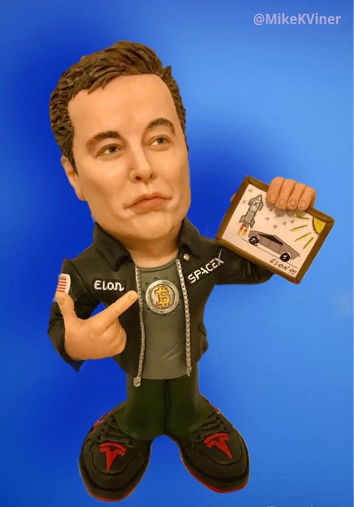 sculpture caricature Elon Musk