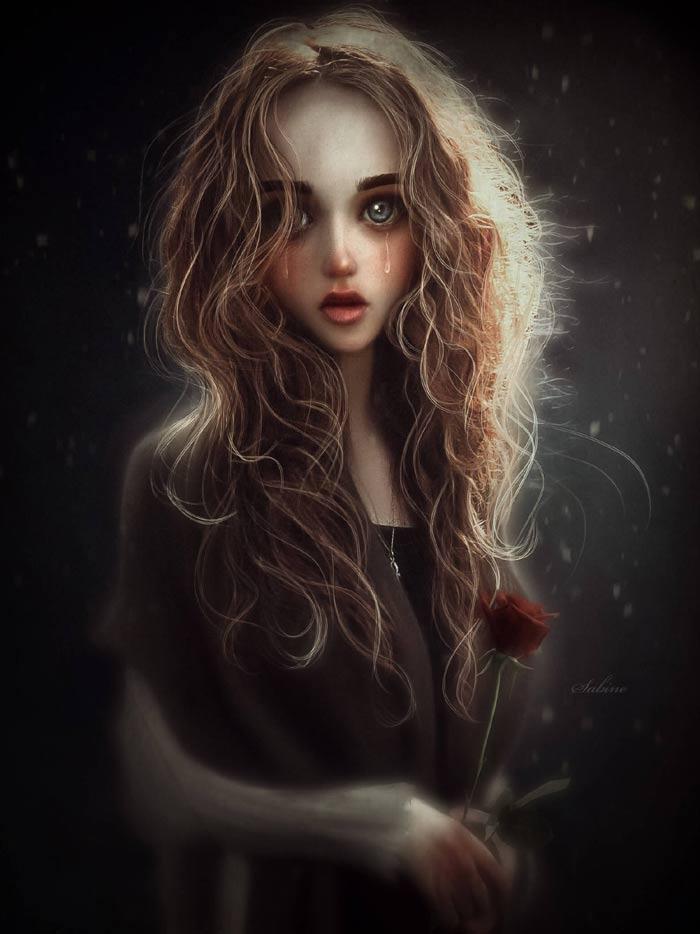 Rose emotional and surrealist portrait