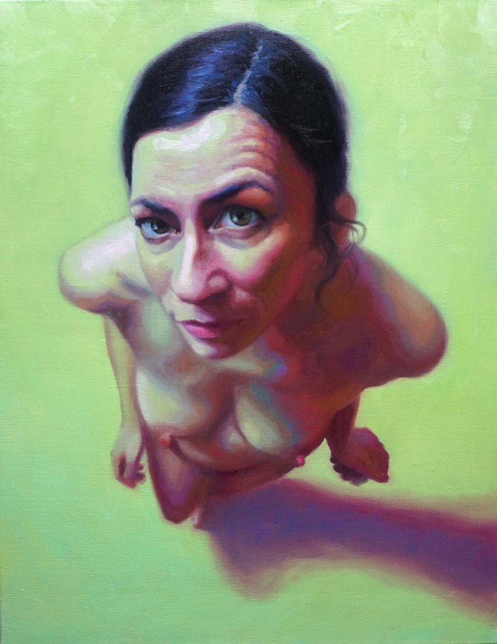 A certain shade of green, naked woman painting