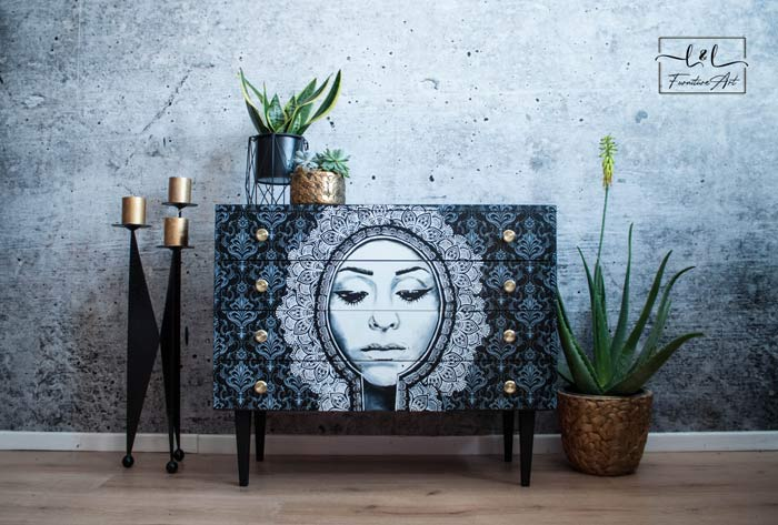 Beautiful portrait hand painted face furniture