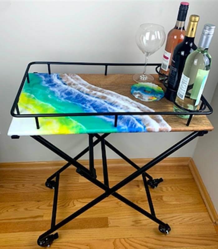handmade resin art table