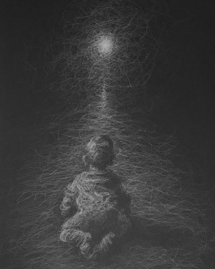 Beginnings white pencil drawing by Daniel Meikle
