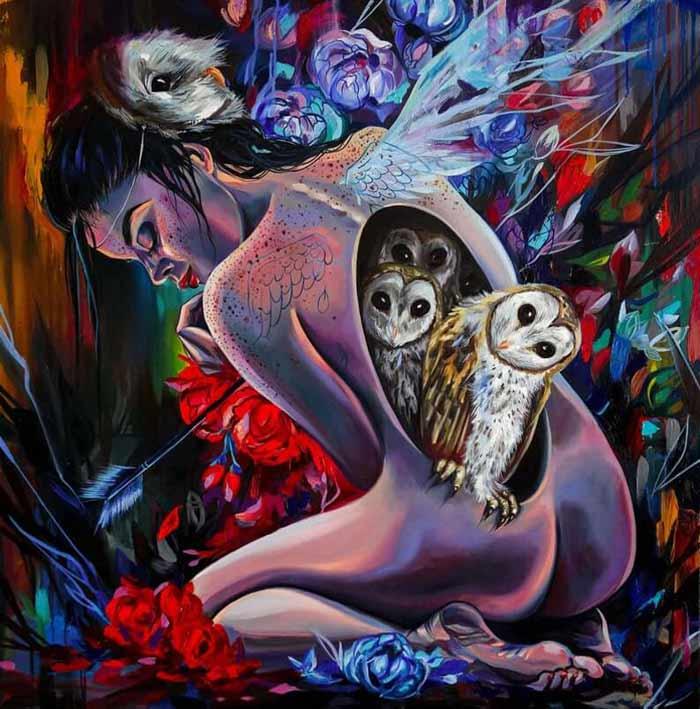 surrealist oil painting by Vivien Szaniszlo