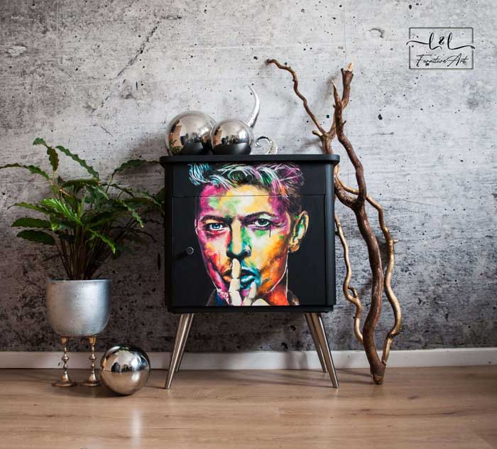 David Bowie portrait in Pop Art style furniture