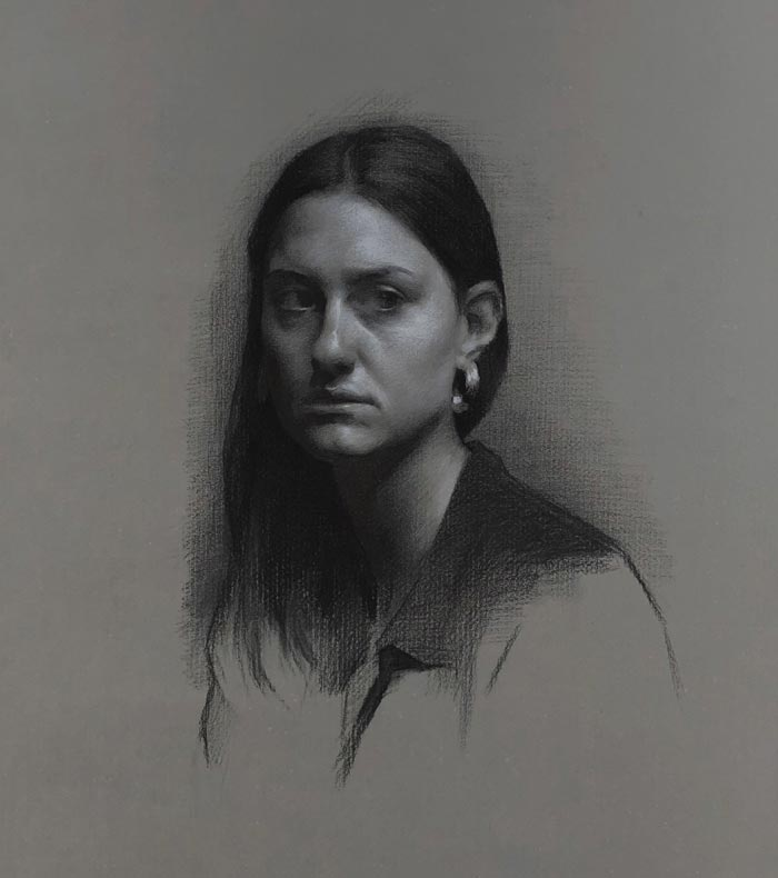 Drawing of Virginia Charcoal and White Chalk on Roma Paper by Eric J Drummond