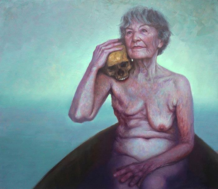 Final journey - nude old woman painting