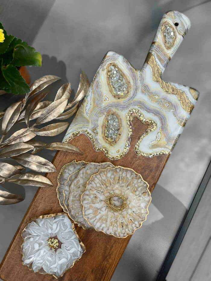 Gold and Silver Charcuterie Board resin art by KunstWork Creations