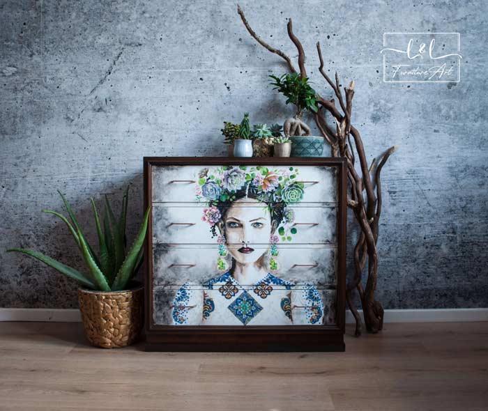 Frida Kahlo face hand painted furniture