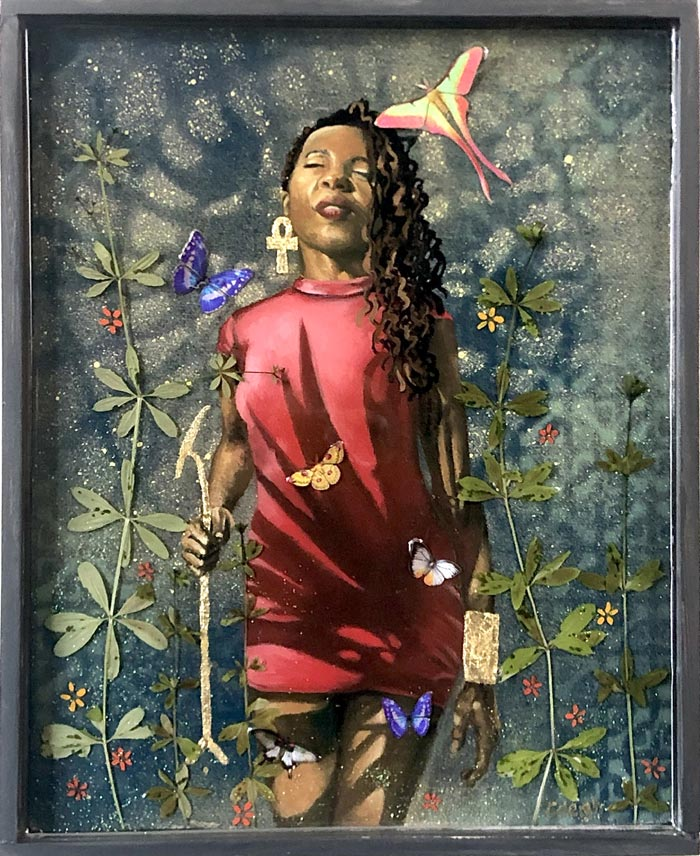 Isis of the Wild flowers figure painting by Caleigh Bird