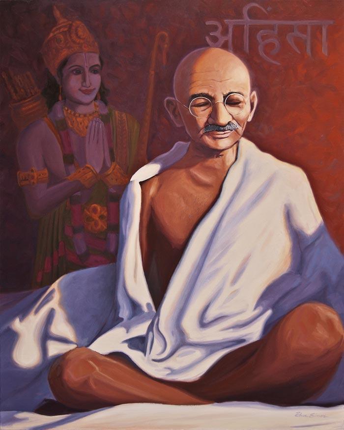 Mahatma Gandhi painting by Artist Steve Simon