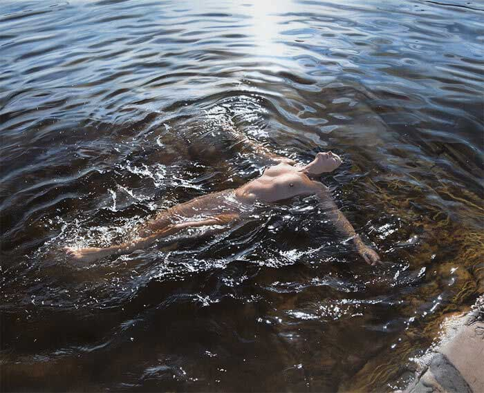 Model swimming at the cliffs hyperrealism art by Johannes Wessmark