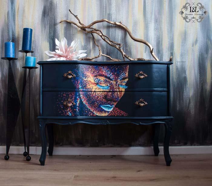 Neon portrait painted with pointilism tehnique on furniture
