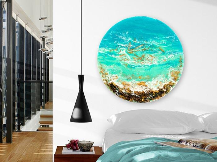 Ocean Resin Abstract Art Round Adrift