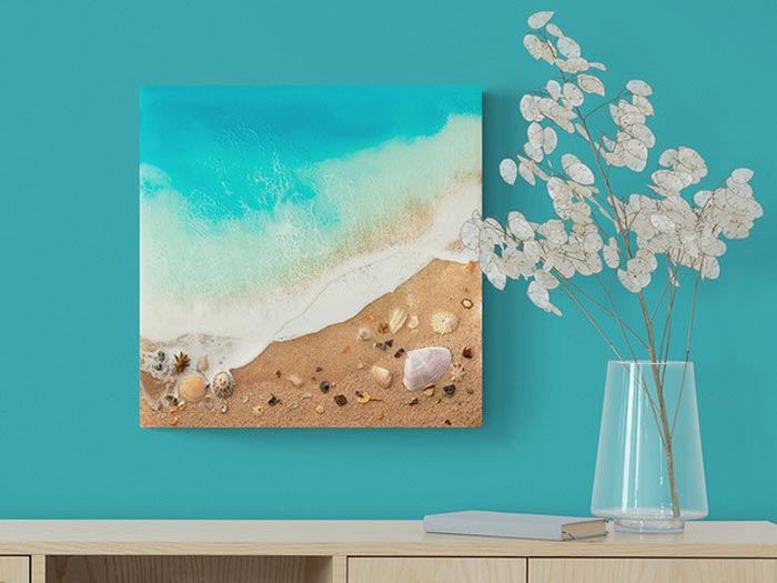 Ocean Resin Art With Sand And Shells