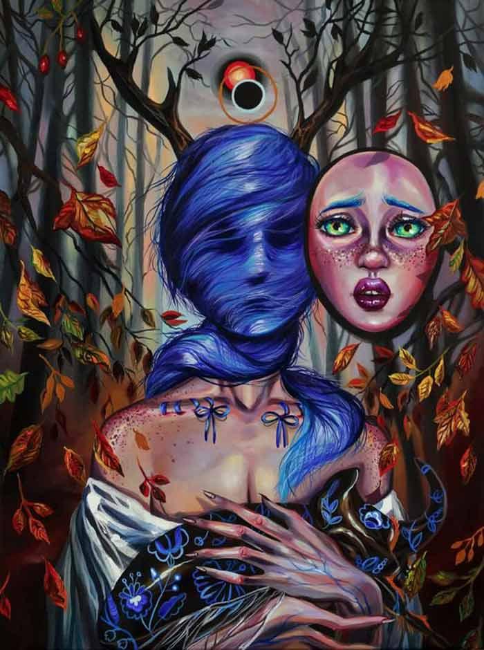 Presence surrealist painting by Vivien Szaniszlo