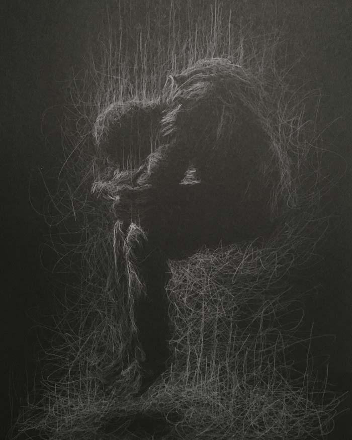 Risen white pencil drawing by Daniel Meikle