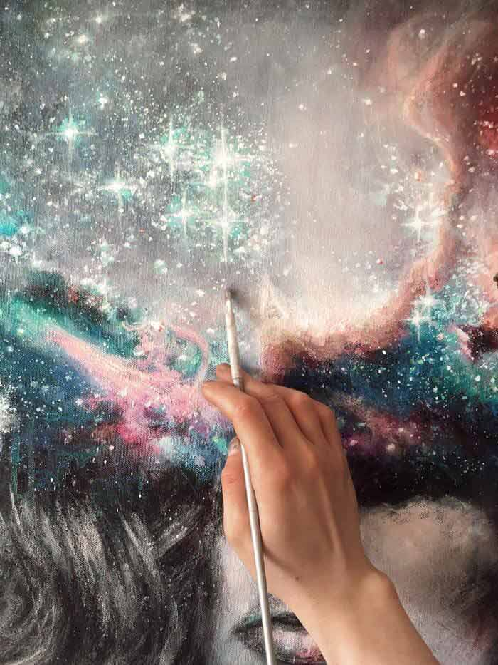 Silent Breath and Inner Realism Galaxy painting
