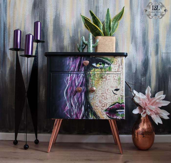 Superstar Girl cabinet painted Pop Art style furniture