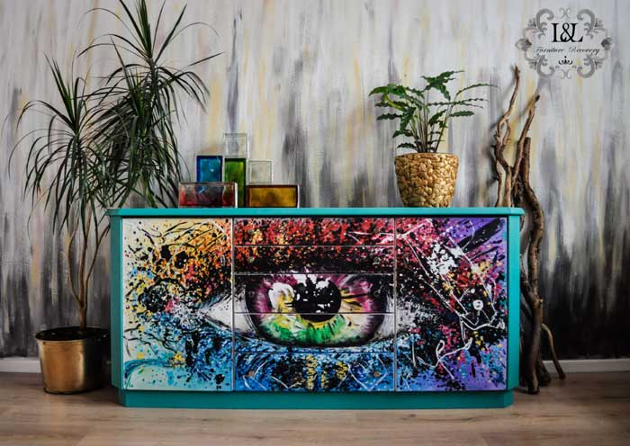 Eye Pop Art style painting on a Sideboard
