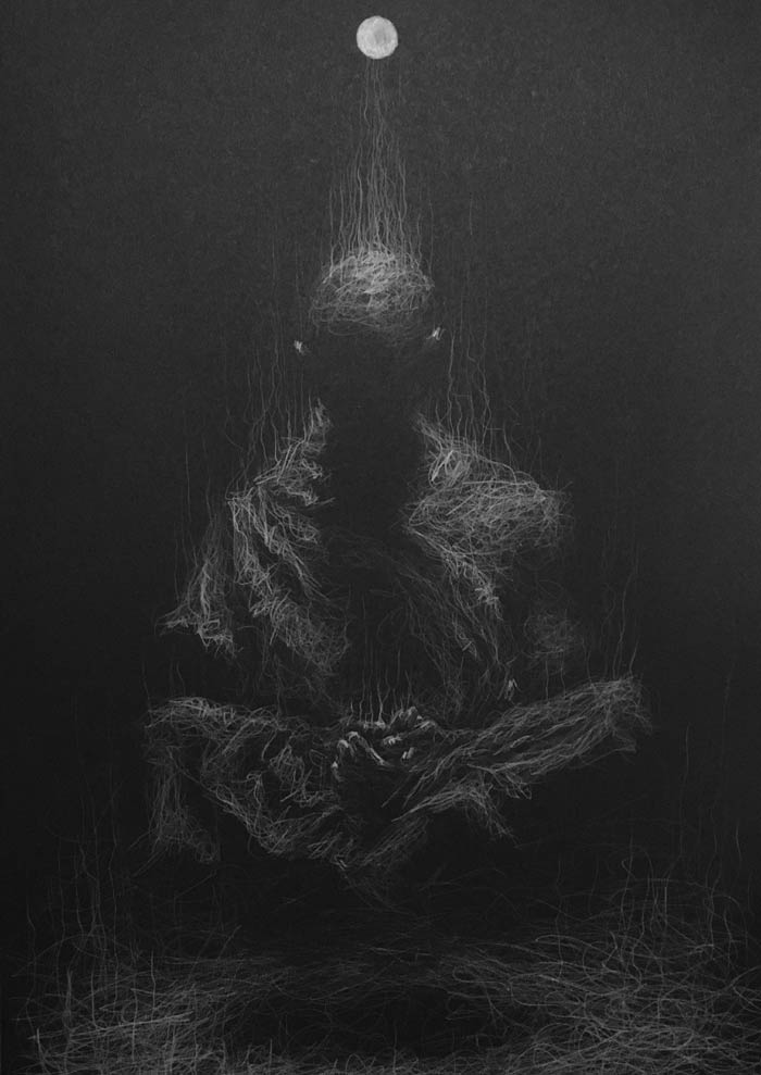 The absence of thought white pencil drawing by Daniel Meikle