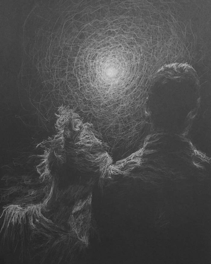 Time ending white pencil drawing by Daniel Meikle