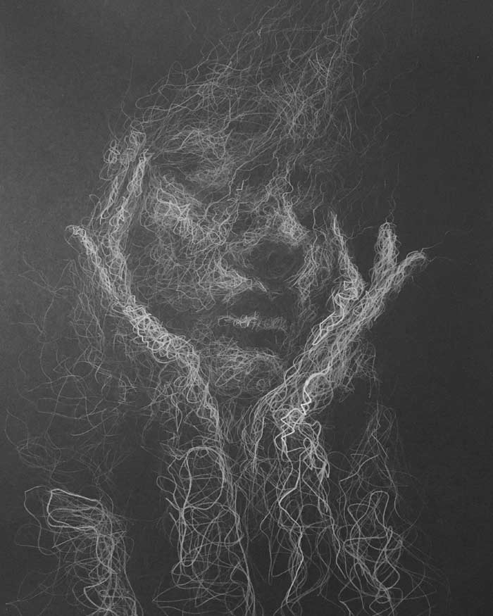 Waking dream white pencil drawing by Daniel Meikle