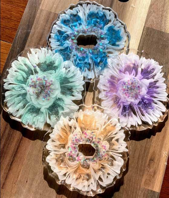 Wispy Flower Coasters resin art by KunstWork Creations