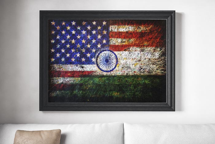 Flag of USA and flag of India hand painted