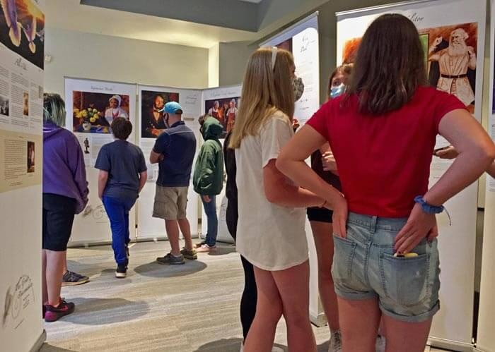 students in art exhibition