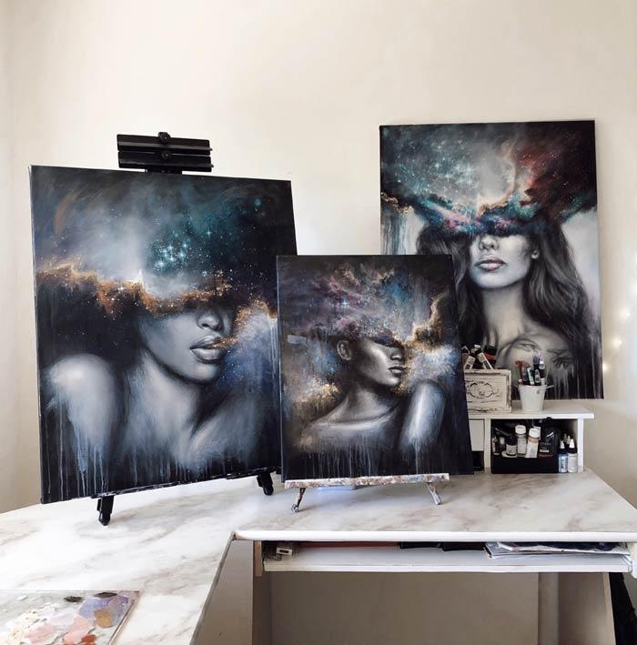 three ladies paintings in one shot