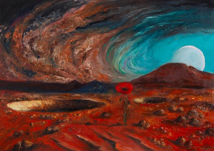 Laleh on Mars Finger and brush painting