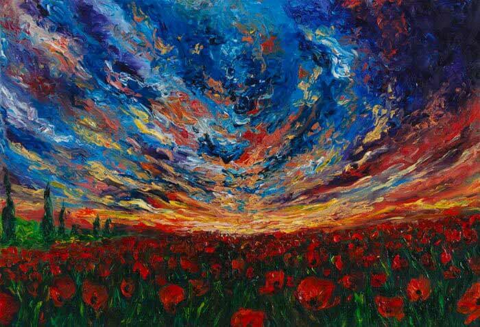 Poppy field and a stormy sky painting
