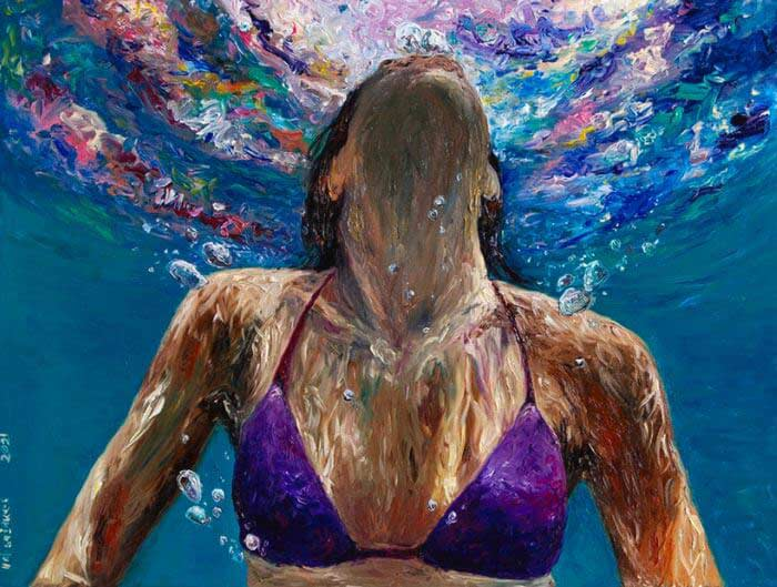 Woman underwater painting by Hafsa Idrees