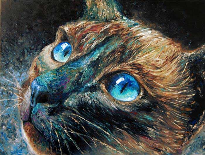 Cat portrait painting by Hafsa Idrees