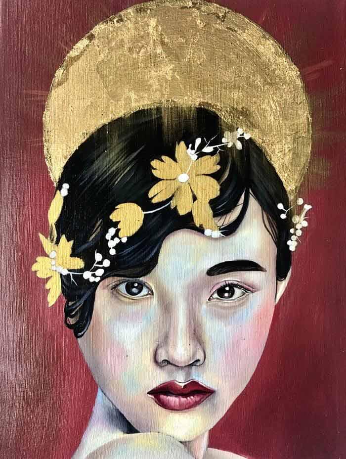 Crimson Lioness gold red asian portrait oil painting