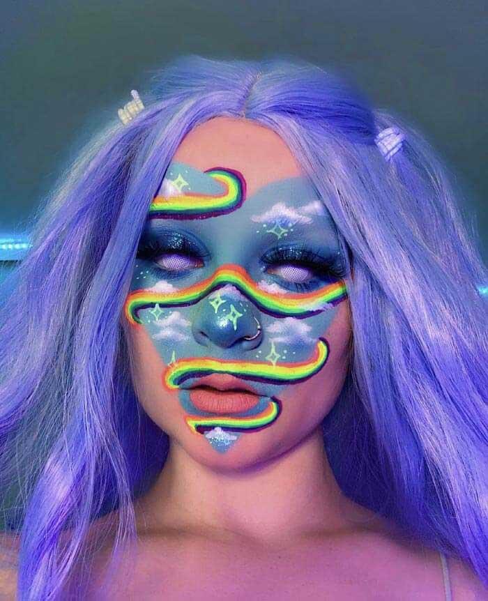 Keely Dreamy rainbow swirl makeup look