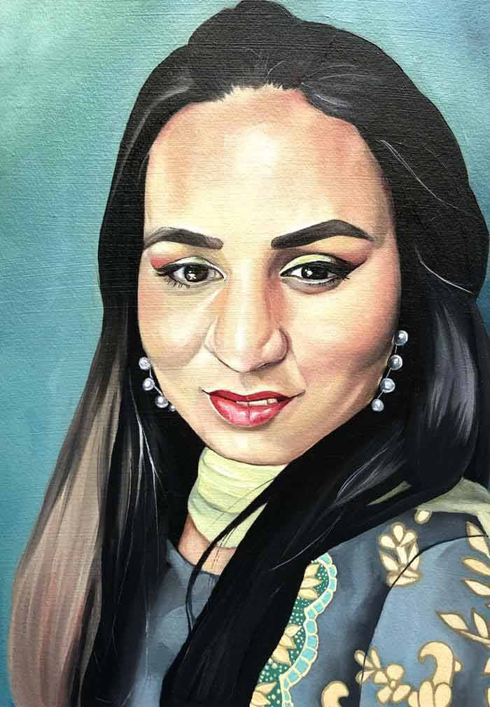 Realistic indian portrait oil painting