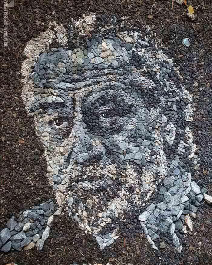 Robert De Niro Portrait Made from stones
