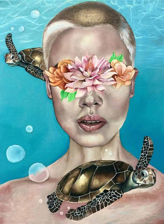 Sea turtle and tropical flower portrait