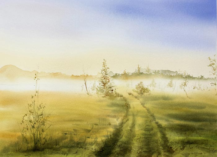 landscape painting in watercolor by Maria Raczynska