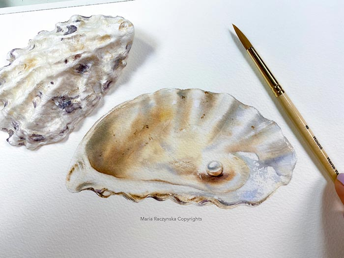 Oyster shell with watercolor by Maria Raczynska